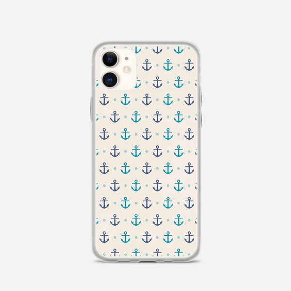 Blue Anchor Pattern iPhone X Case