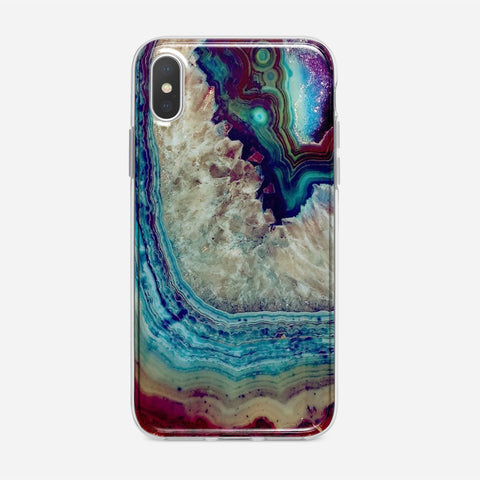 Blue Silver Marble iPhone XS Case