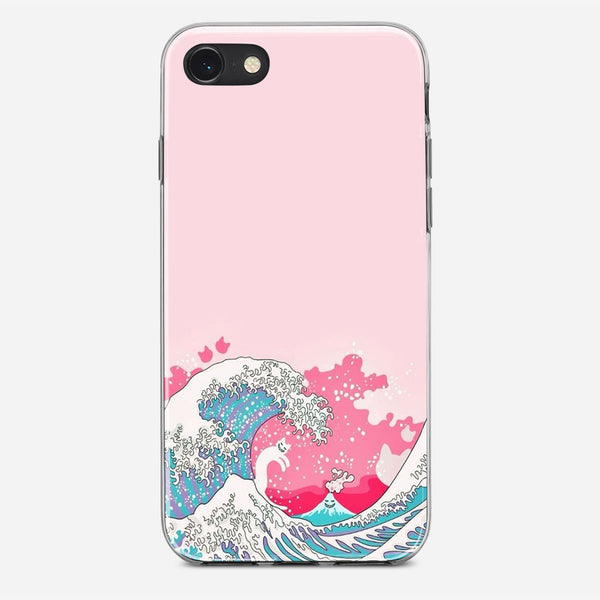 Bright Pink Great Wave iPhone X Case
