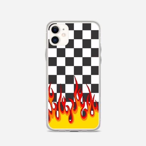 Checkerboard Black And White Flame iPhone 11 Case