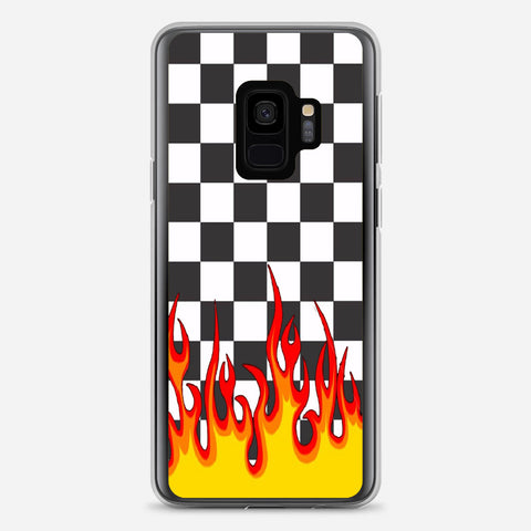 Checkerboard Black And White Flame Samsung Galaxy S9 Case