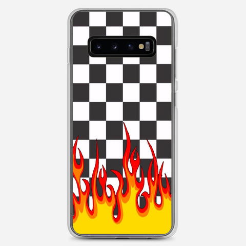 Checkerboard Black And White Flame Samsung Galaxy S10 Plus Case