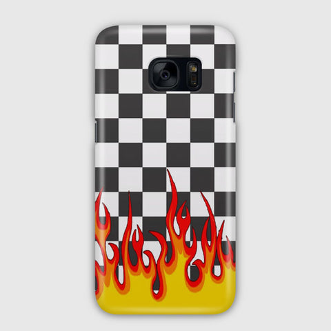 Checkerboard Black And White Flame Samsung Galaxy S7 Case