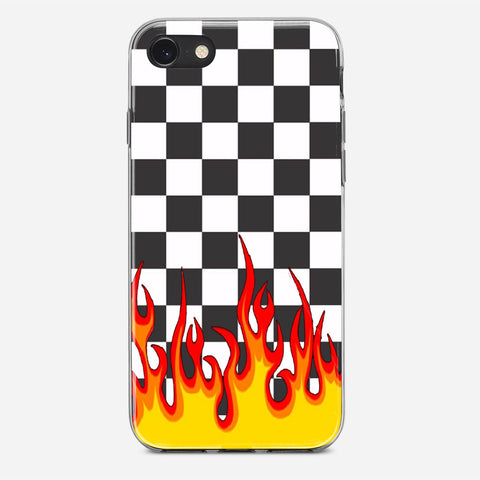 Checkerboard Black And White Flame iPhone X Case