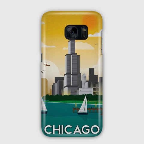 Chicago Travel Poster Samsung Galaxy S7 Edge Case