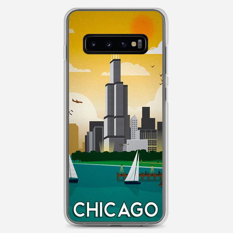 Chicago Travel Poster Samsung Galaxy S10 Plus Case