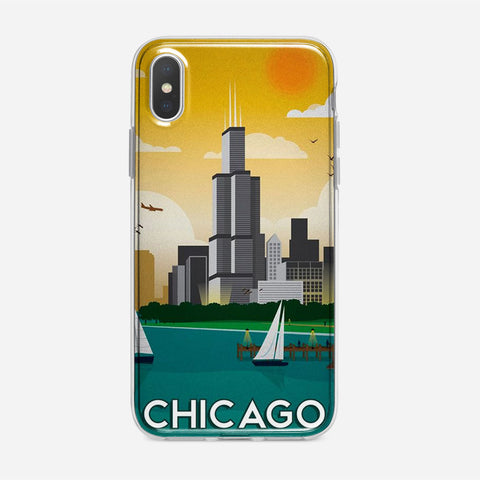 Chicago Travel Poster iPhone XS Case
