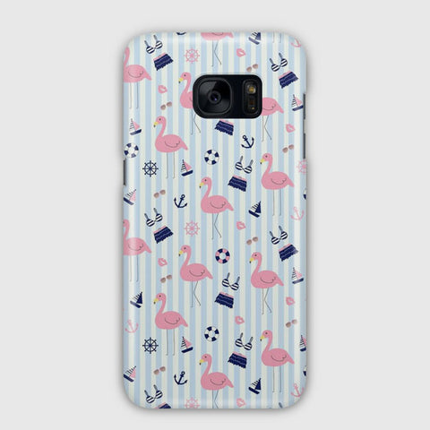 Cute Flamingos Pattern Samsung Galaxy S7 Edge Case