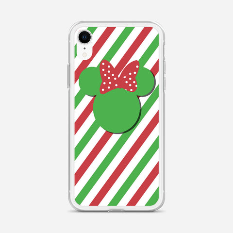 Disney Minnie Mouse Candy Stripe Christmas iPhone XR Case