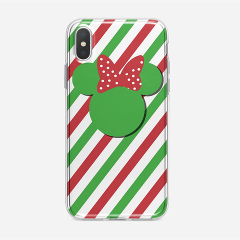 Disney Minnie Mouse Candy Stripe Christmas iPhone XS Case