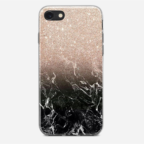 Glitter Black Marble iPhone X Case