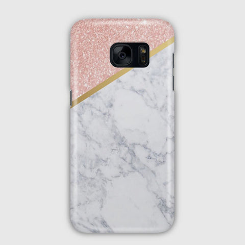 Marble Rose Gold And Gold Samsung Galaxy S7 Edge Case