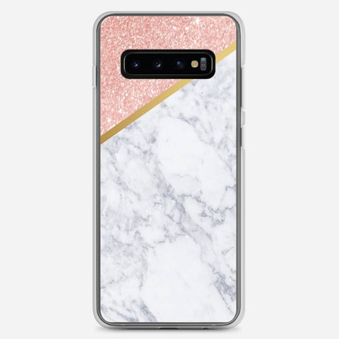 Marble Rose Gold And Gold Samsung Galaxy S10 Plus Case