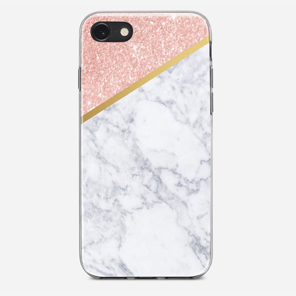 Marble Rose Gold And Gold iPhone X Case