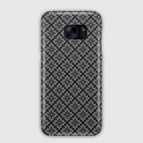 Pattern Grey Flowers Small Samsung Galaxy S7 Edge Case