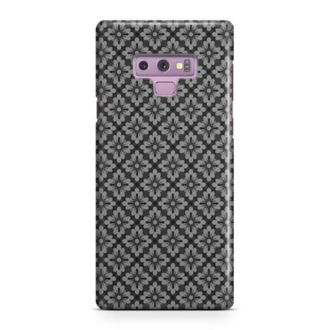 Pattern Grey Flowers Small Samsung Galaxy Note 9 Case