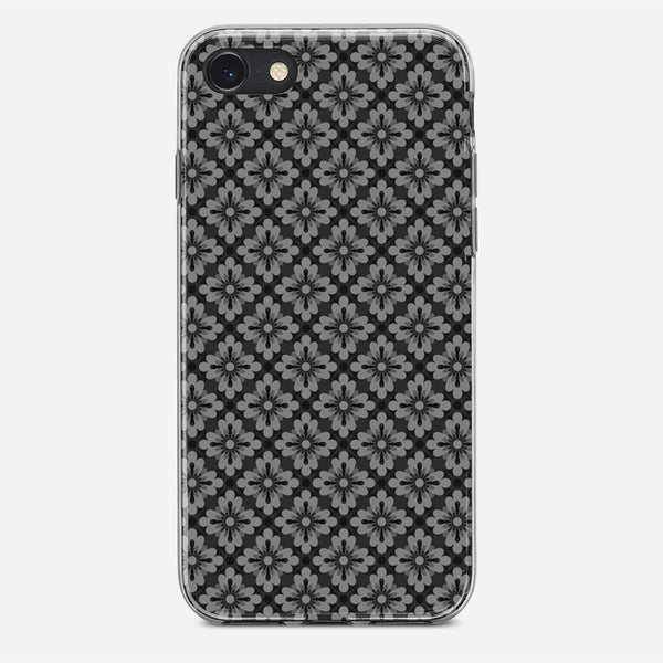 Pattern Grey Flowers Small iPhone X Case