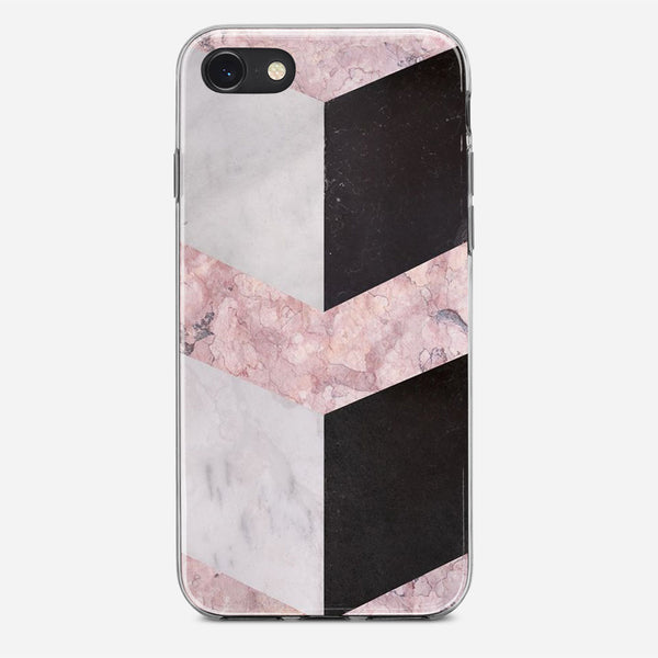 Pink Geometric Marble iPhone X Case