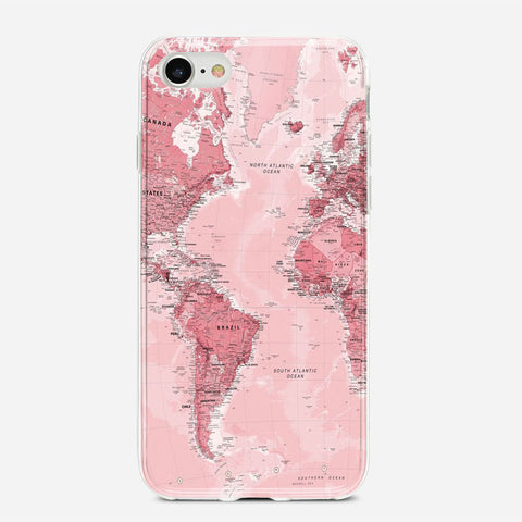 Pink World Map iPhone 6S Case