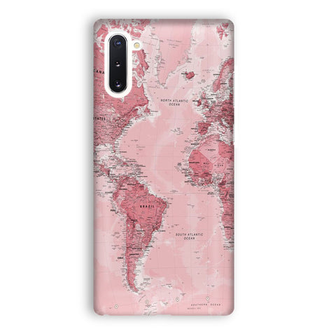 Pink World Map Samsung Galaxy Note 10 Case