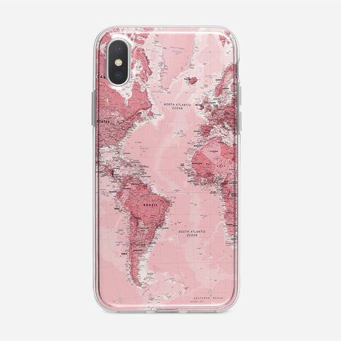 Pink World Map iPhone XS Case