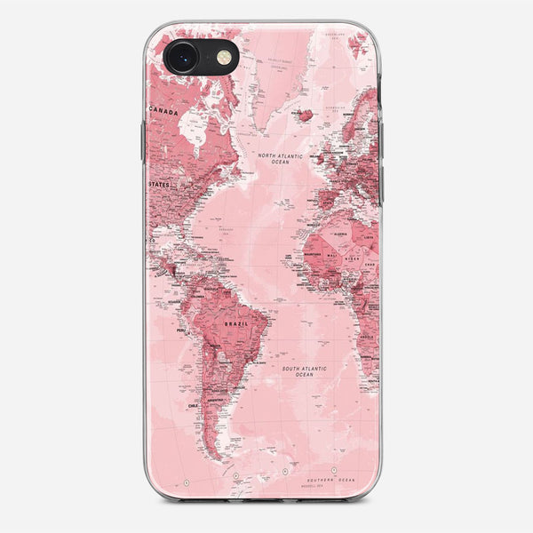 Pink World Map iPhone X Case