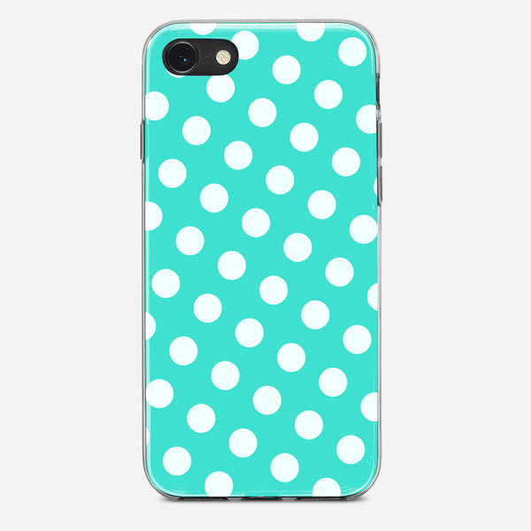 Polka Spots White Blue iPhone X Case