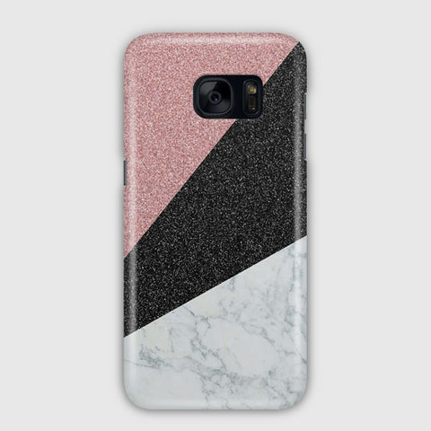 Triangle Marble Glitter Samsung Galaxy S7 Edge Case