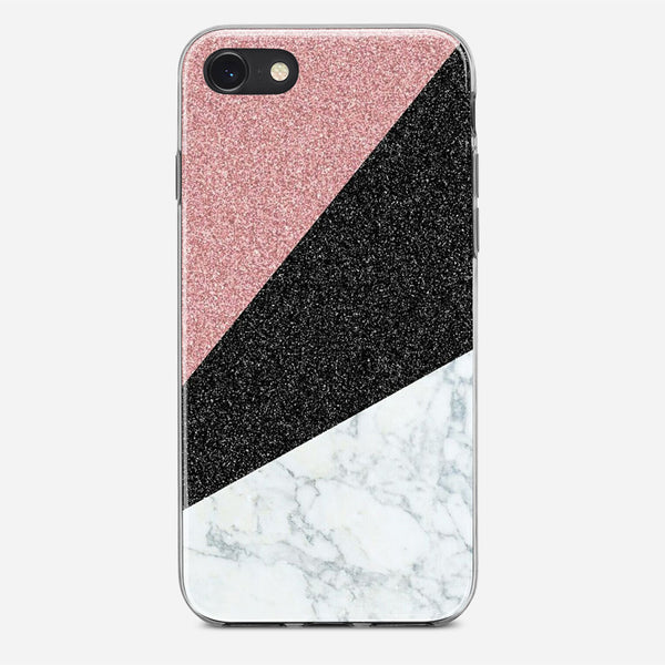 Triangle Marble Glitter iPhone X Case