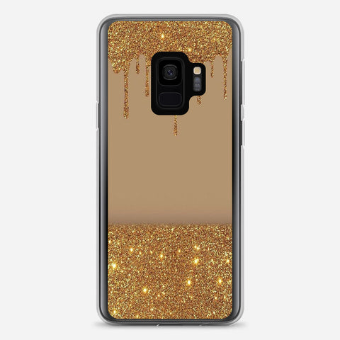 Black Gold Glitter Chevron Samsung Galaxy S9 Case