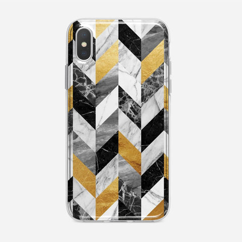 Black Gold Marble Pattern iPhone XS Case