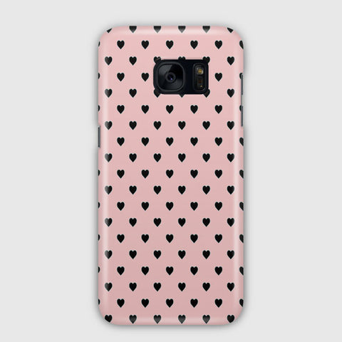 Black Polka Dot Hearts Samsung Galaxy S7 Edge Case