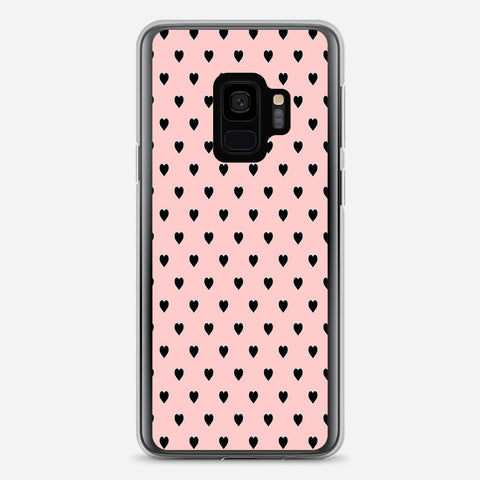 Black Polka Dot Hearts Samsung Galaxy S9 Case