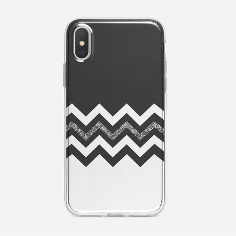 Black White Wide Stripes iPhone XS Case