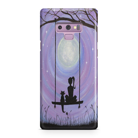 Woman Cat and Moon Samsung Galaxy Note 9 Case