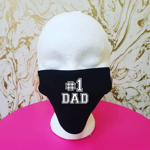 "Handmade ""#1 Dad"" Black Cloth  Moisture Wicking Highly-Breathable Face Mask"