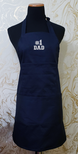"Chef's Bib Apron ""#1 Dad"" - Various Colours Available"