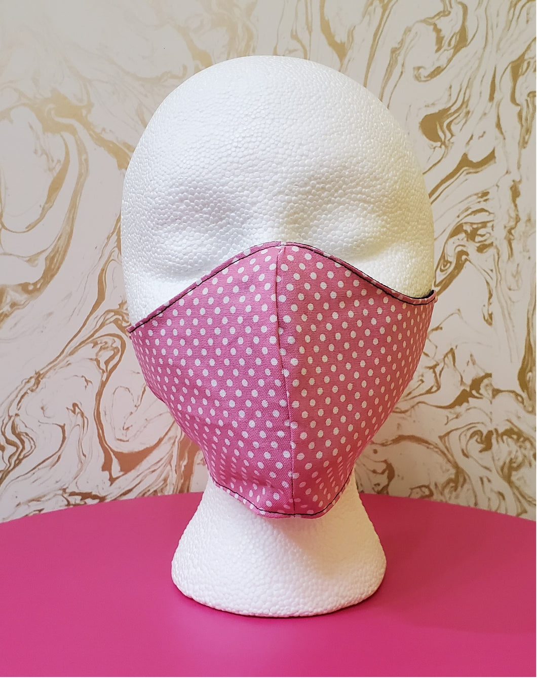 Deluxe Baby Pink Polka Dot Cloth Face Mask - Kids