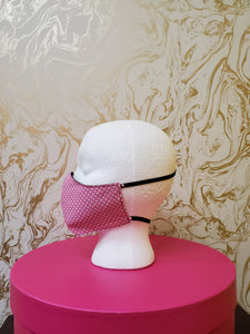 Deluxe Baby Pink Polka Dot Cloth Face Mask - Adults