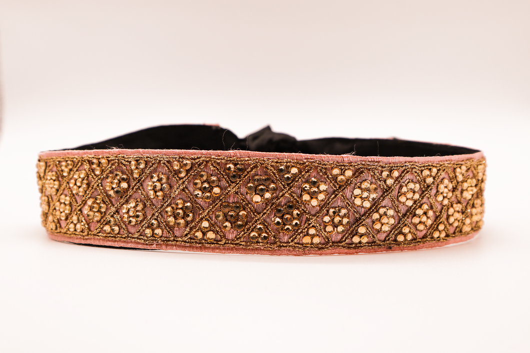 Baby Pink With Gold Flower Crystals CINCHEX Belt
