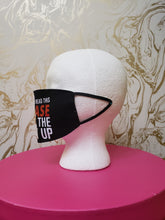 "Load image into Gallery viewer, Handmade ""Back the F Up"" Black Moisture Wicking Highly-Breathable Face Mask"