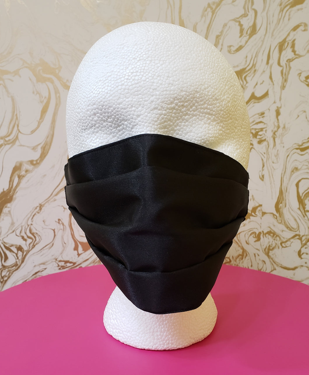 Satin Black Reversible Couture Fashion Filtered Face Mask - 3 Layers with Built in Filter - Adults