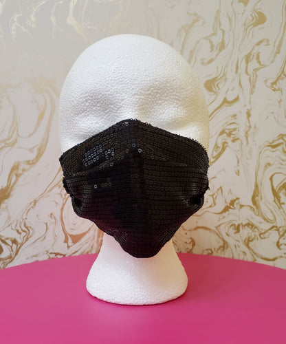 Black Sequin Couture Fashion Pleated Mask - Adults