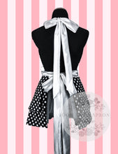 Load image into Gallery viewer, Black & White Polka Dot Hostess Apron