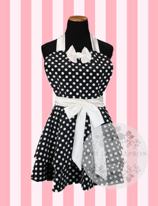 Black & White Polka Dot Hostess Apron