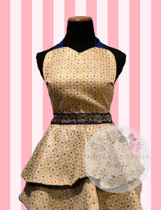 Bollywood Glam - Cream & Royal Blue Couture Hostess Apron