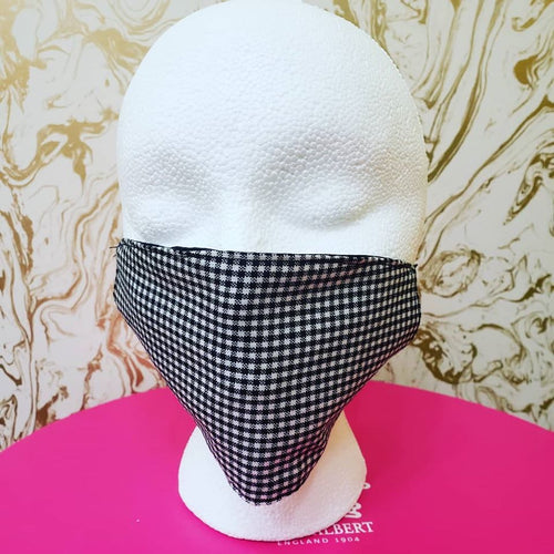 Handmade Black & White Gingam Cloth Face Mask - Adults