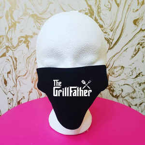 "Handmade ""Grillfather"" Black Moisture Wicking Highly-Breathable Face Mask"