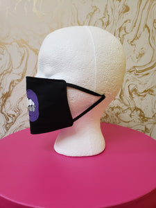 "Handmade Purple ""Grillz"" Black Moisture Wicking Highly-Breathable Face Mask with Rhinestones"