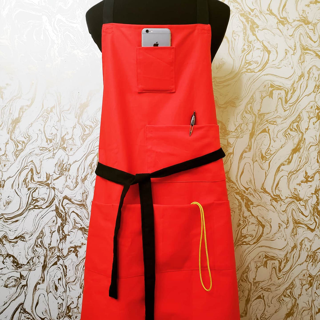 Chef's Bib Apron - with Phone Pocket - Various Colours Available